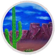 Lone Cactus Round Beach Towel