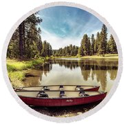 Lone Canoes, Winchester Lake Round Beach Towel