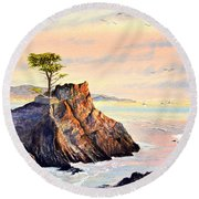 Lone Cypress Tree Pebble Beach Round Beach Towel