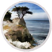 Lone Cypress Tree Pebble Beach  Round Beach Towel