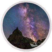Lone Eagle Peak Dancing In The Milky Way Round Beach Towel