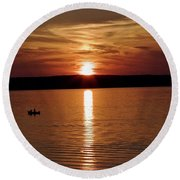 Lone Fisherman At Sunset Round Beach Towel
