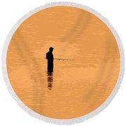Lone Fisherman Round Beach Towel
