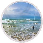 Lone Fishing Pole Round Beach Towel
