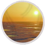 Lone Goose At Sunrise Round Beach Towel
