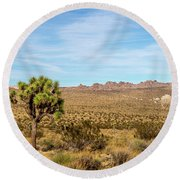 Lone Joshua Tree - Pleasant Valley Round Beach Towel