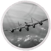 Lone Lancaster Black And White Version Round Beach Towel