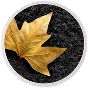 Lone Leaf Round Beach Towel by Carlos Caetano