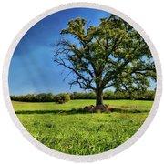 Lone Oak Tree In Wisconsin Field Round Beach Towel