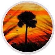 Lone Palm Florida Round Beach Towel