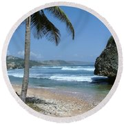 Lone Palm On Barbados Coast Round Beach Towel