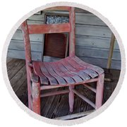 Lone Red Chair Round Beach Towel