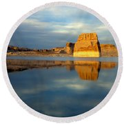 Lone Rock Glow Round Beach Towel