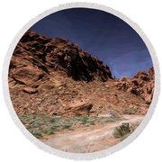 Lone Rock Road Overton Nevada  Round Beach Towel