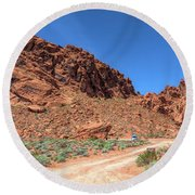 Lone Rock Valley Of Fire  Round Beach Towel
