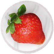 Lone Strawberry Round Beach Towel