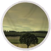 Lone Tree In The Field Round Beach Towel