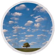 Lone Tree Morning Round Beach Towel