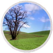 Lone Tree - Rolling Hills - Summer Sky Round Beach Towel