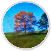 Lone Trees Painting Round Beach Towel