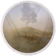 Loneliness At Foggy Dawn Round Beach Towel
