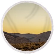 Loneliness At Sunrise Round Beach Towel