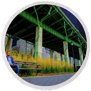Loneliness In The City Round Beach Towel