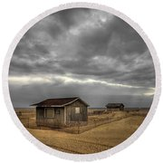 Lonely Beach Shacks Round Beach Towel by Evelina Kremsdorf