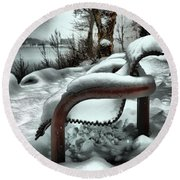 Lonely Bench In Snowfall Round Beach Towel