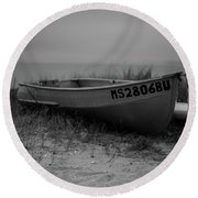 Lonely Boat Round Beach Towel