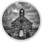 Lonely Chapel Round Beach Towel