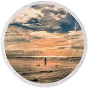 Lonely Couple  Round Beach Towel