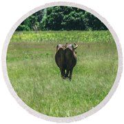 Lonely Cow 2 Round Beach Towel