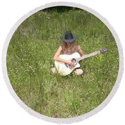 Lonely Guitar Two Round Beach Towel