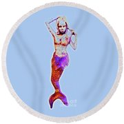 Lonely Little Mermaid Blue Round Beach Towel
