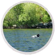 Lonely Loon Taking The Red Eye Round Beach Towel