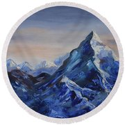 Lonely Mountain Cliff Round Beach Towel