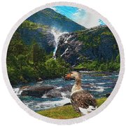 Lonely Near The Waterfall 1 Round Beach Towel