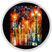 Lonely Night 3 - Palette Knife Oil Painting On Canvas By Leonid Afremov Round Beach Towel