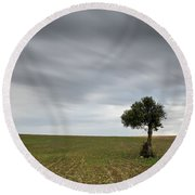 Lonely Olive Tree With Moving Clouds Round Beach Towel