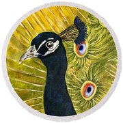 Lonely Peacock Round Beach Towel