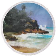 Lonely Sea Round Beach Towel