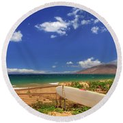 Lonely Surfboard Round Beach Towel