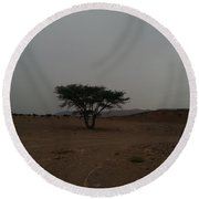 Lonely Tree In The Middle Of The Desert Round Beach Towel