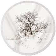 Lonely Tree On A Hill Round Beach Towel