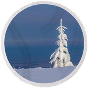 Lonely Tree On A Mountain Top Round Beach Towel