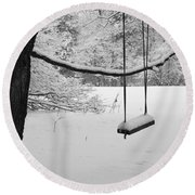 Lonely Winter Swing Ipswich Ma Round Beach Towel