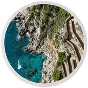 Long And Twisted Walk To The Shore - Azure Magic Of Capri Round Beach Towel