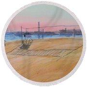 Long Beach Icons Round Beach Towel