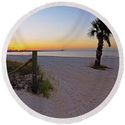 Long Beach Sunrise - Mississippi - Beach Round Beach Towel
